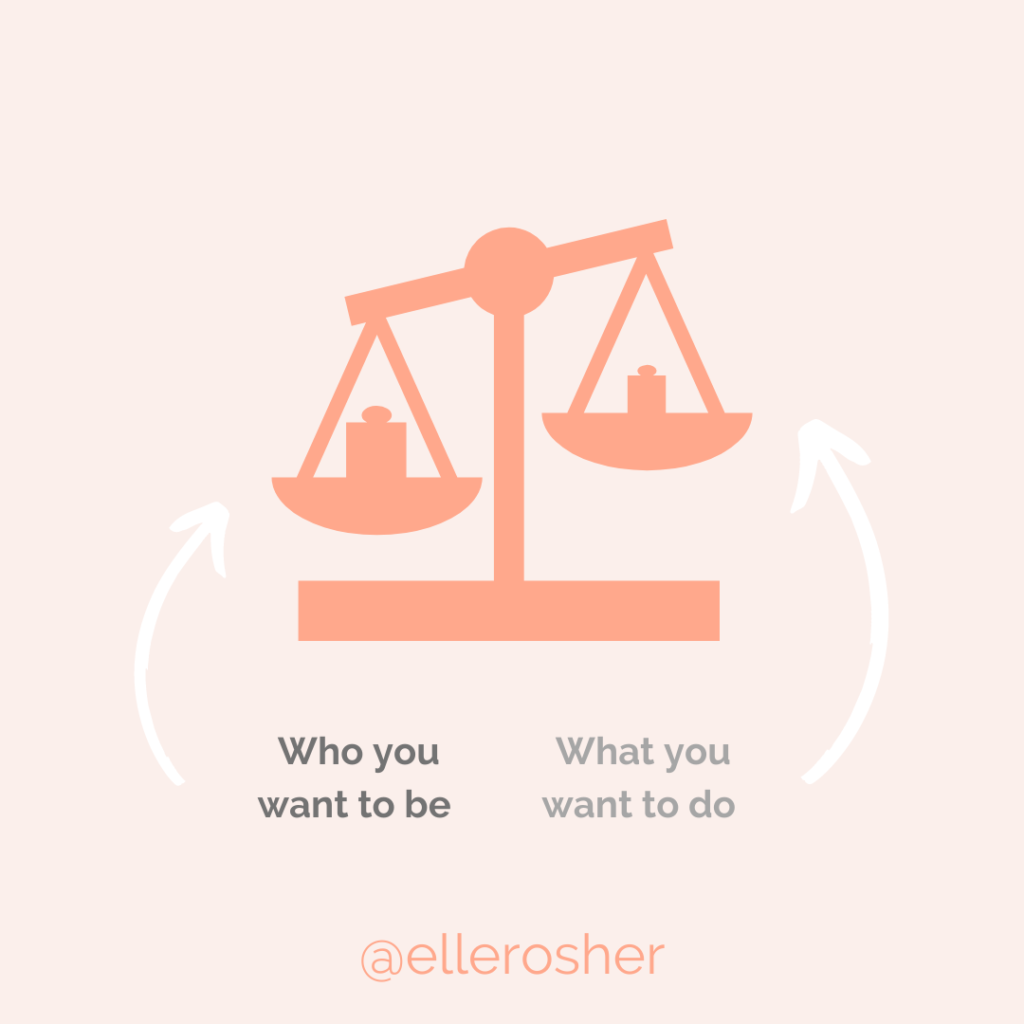 scale graphic - who you want to be , value-based goals